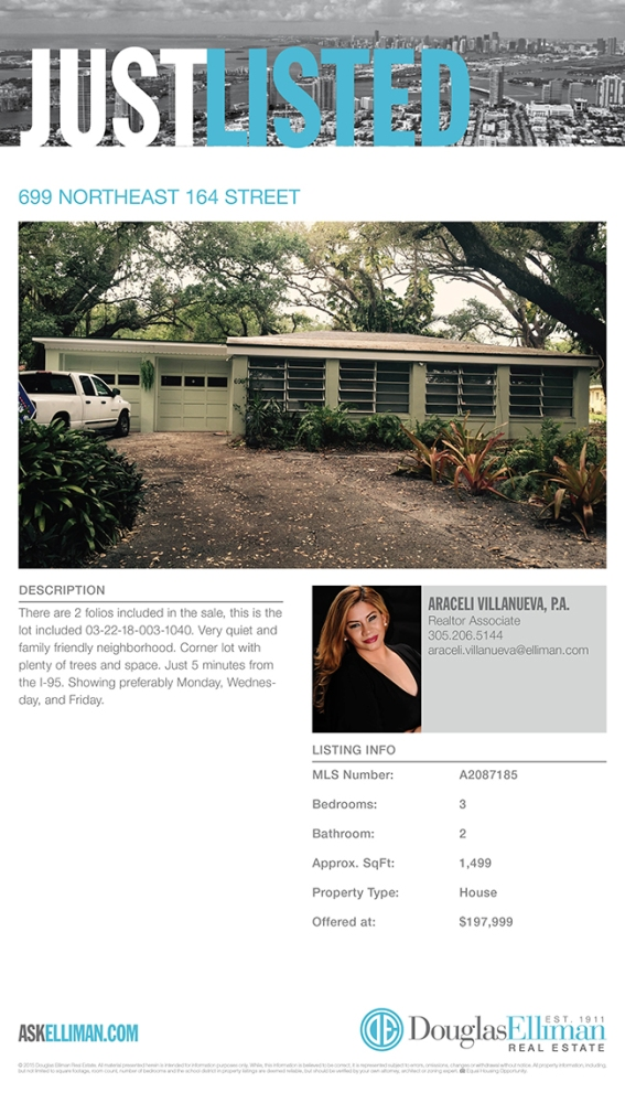 JUST LISTED! 3/2 Corner House - 699 NE 164 St North Miami Beach only $197,999 (1/6)